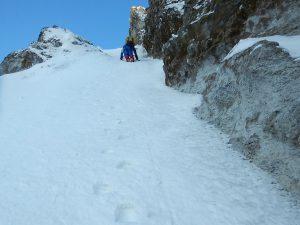 ルンゼの登攀